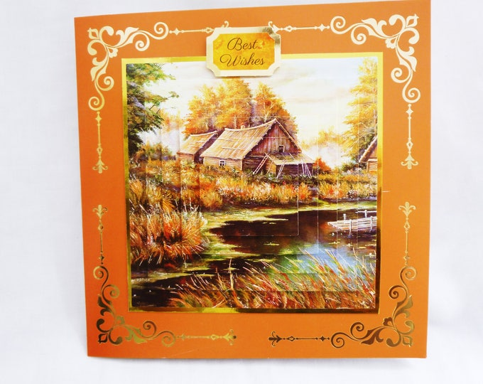 Country Scene, 3 D Pyramid Decoupage Card, Birthday Card, Greeting Card, Autumn Colours, Old Boat House, Male or Female, Any Age