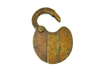 Antique Lock No Key Brass Padlock Hinged Key Opening