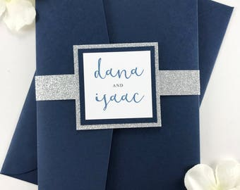 Complete Wedding Invitation Set in Navy and Silver Glitter, Beautiful Elegant High End Wedding Invite, Pocket Folder with Envelopes and Band