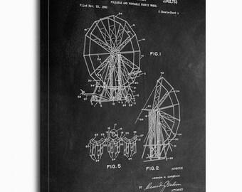 Ferris Wheel Canvas Print, Ferris Wheel Patent,  Vintage Art,  Blueprint,  Poster, PatentPrints, Wall Art, Decor [TC149C]