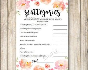 INSTANT DOWNLOAD - PDF - Scattegories for bridal shower, scattegories,bridal shower game, floral bridal shower, creative bridal shower games