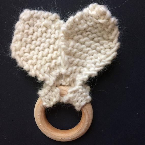 Knitting Pattern Rabbit Ears : Knit bunny ears wood teether toy pattern quick knitting
