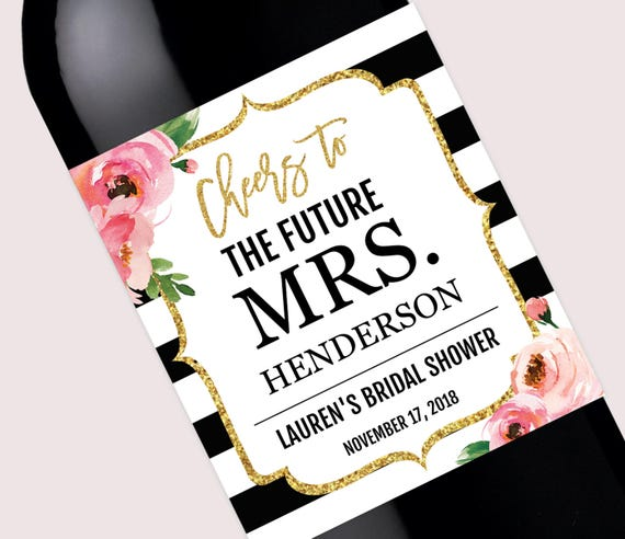 bridal shower wine bottle labels pdf personalized kate champagne