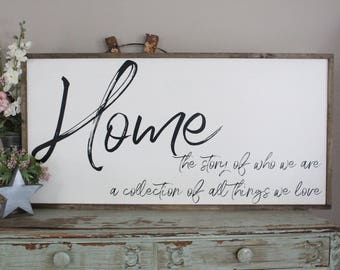 Home Is The Story Of Who We Are Wood Sign, Welcome Home Wall Art,