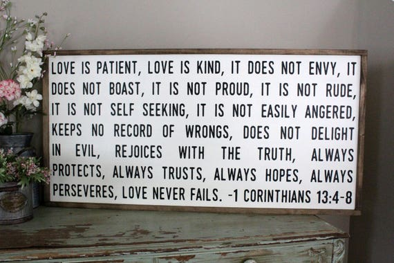 Love Is Patient Love Is Kind Sign Love Never Fails Framed