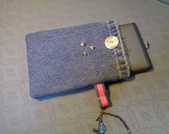 Denim e-reader cover tech case.  Recycled repurposed denim and cotton, fully wadded for protection and strength. Great gift for readers.