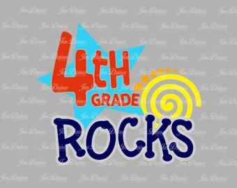 Fourth Grade Rocks SVG DXF EPS, fourth grade svg, school rock svg, school shirt design, svg cutting file for Cricut, Silhouette, school svg