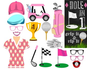 Golf digital photo booth party props instant download