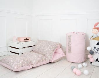 Pillow Mattress - Childrens Mattress - Children Pillow - Flowers Pillow Bed - Reversible Pad - Pink Pillow Bed - Pink Bedding