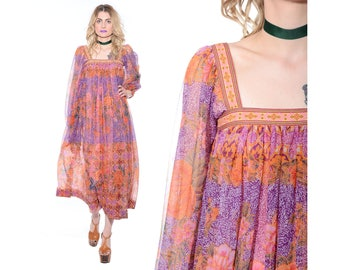 Vintage 70s BOHEMIAN Sheer Poet Sleeve FLOWING Midi Tent Dress Caftan Hippie Boho Gypsy Festival *Free Shipping U.S.* vtg