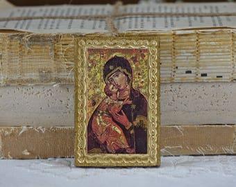 Vintage Mary and Jesus print - Religious wall decor - Religious art