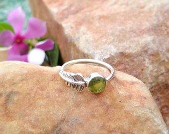 On Sale Natural Peridot Ring - Leaf Stone Ring - Ring - Gemstone Jewelry - Handmade Jewelry