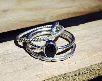 On Sale Natural Black Onyx Ring - 925 Sterling Silver Gemstone Ring - Wedding Ring - Handmade Stacking Ring - Gift for Her