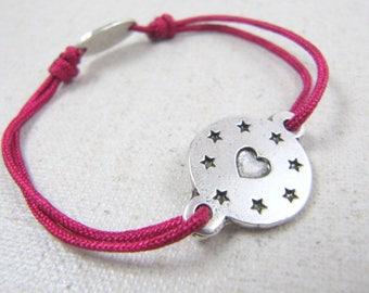 "Adjustable ""heart"" Silver 925 - ø16mm - choose braided cord bracelet"