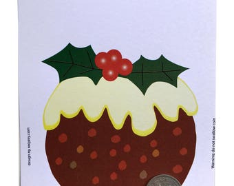 CHRISTMAS PUDDING Lucky Silver SIXPENCE - Fun Gift or Greetings Card, Free U.K. 1st Class Post