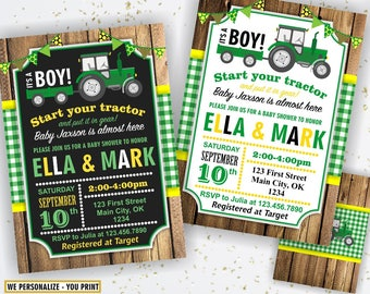 Tractor Baby Shower Invite, Tractor Invitation, Tractor Baby Shower Invitations, Yellow Woodland Green Plaid Boy Farm BST1