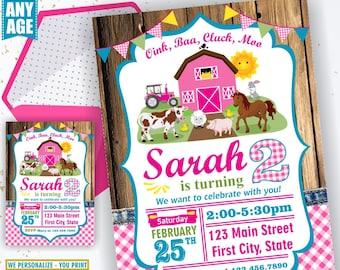 Farm animals birthday invitation woodland pink tractor plaid wood invite rustic girl horse cow duck bunny sheep Photo Photograph BDFarm2