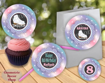 Cupcake Toppers Birthday Ice Skates Party favor tags circles Girl Pink Purple green aqua Thank you labels sticker CTIS2