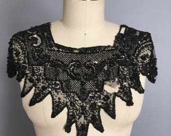 Edwardian beaded and sequin dress front/ collar