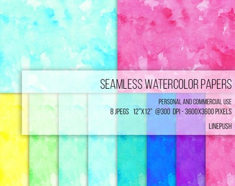 SALE! Seamless Watercolor Papers, Digital Papers, Background, Clipart Texture Pack Wallpapers Backgrounds Clip art, pink, blue, pastel paper