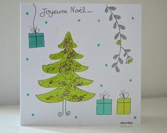 Christmas card - Greeting card handmade - Merry Christmas card - hand painted card.