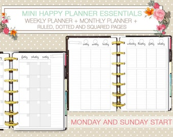 Mini Happy planner printable kit weekly and monthly planner inserts black and  white ruled and dotted pages instant download mambi planner