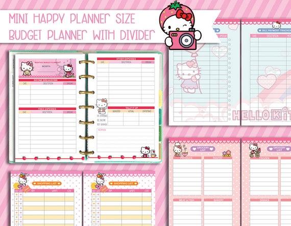 mini happy planner printable inserts budget planner kawaii