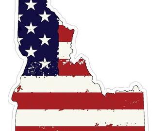 Idaho State (J13) USA Flag Distressed Vinyl Decal Sticker Car/Truck Laptop/Netbook Window