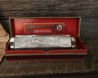 Vintage Chromatic Koch Harmonica Made in Germany, C, Vintage Musical Instrument