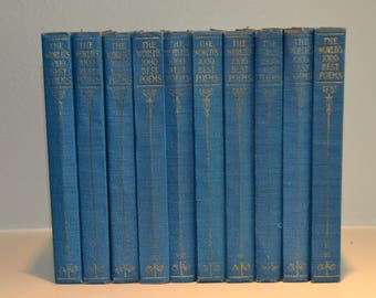 Set of 10 Vintage Shabby Chic PETITE BLUE DECORATIVE Books of Poems 1929 Instant library home decor Interior design photo prop color 1920's