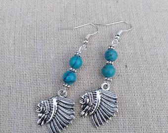 Chief earrings - Turquoise bead dangle earrings - indian chief earring - Native American earrings - Native jewelry - Tribal Earrings - gift