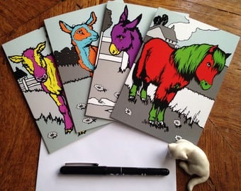 Offer: Set of 4 Colourful Farmyard Cards for the Offbeat and Individual People in Your Life