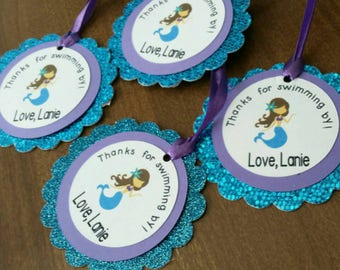 12 Glitter Mermaid Themed Favor Tags. Under the Sea Favors