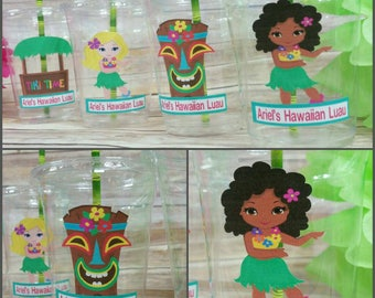 12 Personalized Luau/Hawaiian Themed Party Cups with Lids and Straws, Luau Party Cups