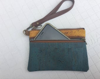Cork, wristlet, wallet, natural, eco friendly, teal blue, mustard yellow