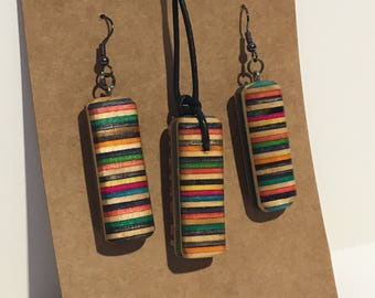 Recycled Skateboard Earrings and Necklace Pendant Matching Jewellery Set