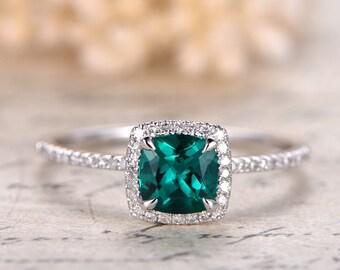 Emerald Engagement Ring 6mm Cushion Cut Emerald Ring 14K White Gold May Birthstone Ring Emerald Halo Ring Pave Diamond Wedding Ring