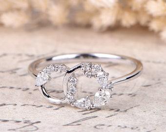 Diamond Wedding Bands Eternity Bands Circle Diamonds Engagement Ring Wedding Band Pear Cut Diamond Ring Solid 14k White Gold Women Ring