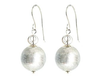 Murano Glass Earrings 'Silver Ice' by Mystery of Venice, Murano Earrings, Murano Glass Earrings, Murano Glass Jewelry, Silver Glass Earrings
