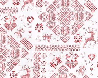 Knit Sampler - Raud Snow - NORDIC STITCHES  by Wenche Wolff Hatling for Moda Fabrics - Red  39710 11