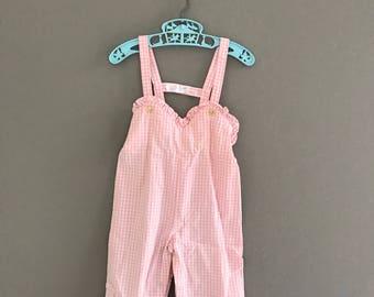 Vintage Size 12 Months Pink Gingham Girls Overalls