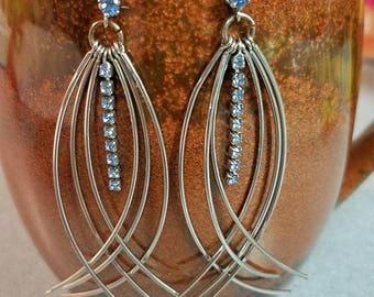 long silver wire wirework dangle cluster earrings w/blue rhinestones boho chic festival gypsy