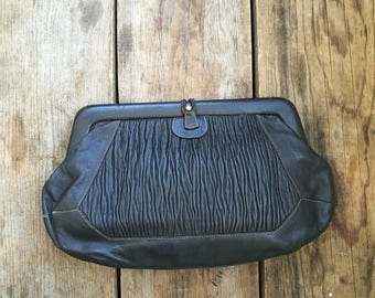 Vintage 1980s clutch bag made in Italy dark brown