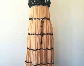 Vintage 1970s indian crochet x gauze cotton summer dress black and apricot orange