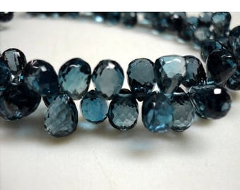 ON SALE 50% London Blue Topaz Briolettes, Blue Topaz Tear Drop Beads, Faceted Briolette Beads, 6x8mm Each, 4 Inch Half Strand
