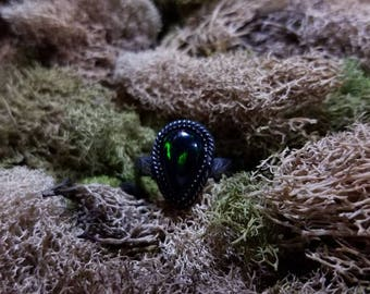 Sterling Silver Black Opal Ring