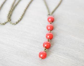 Coral Drop Lariat Necklace, Bronze Necklace, Red, Bamboo Coral, Simple Necklace, Boho Jewelry, Y Necklace,  Drop Necklace, Gift under 20
