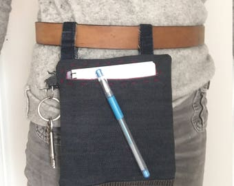 Recycled denim Belt bag / Hip bag / Pouch / Purse