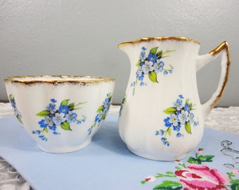 Royal Victoria Forget Me Not Blue Floral English Bone China Creamer/Milk Jug and Sugar Bowl Set