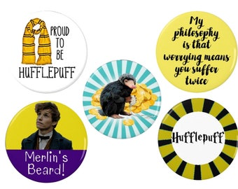 Newt Scamander-  Badge/Magnet Set-  Proud to be Hufflepuff -  Worrying - Harry Potter Badges/Magnets - Quotes